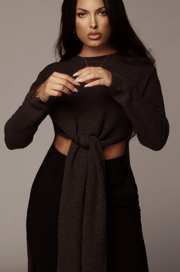 Charcoal Palmer Open Panel Sweater