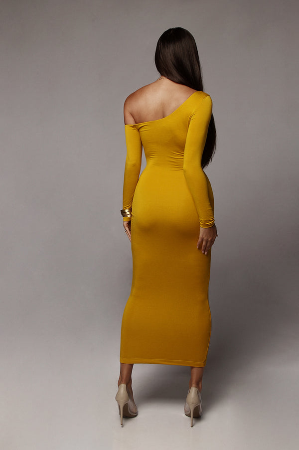 Mustard Serene One Shoulder JLUXBASIX Dress
