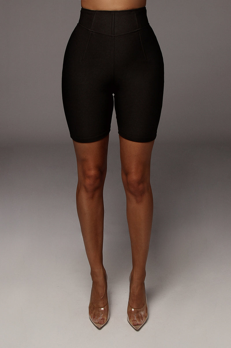 Black Dionne Structured Biker Shorts