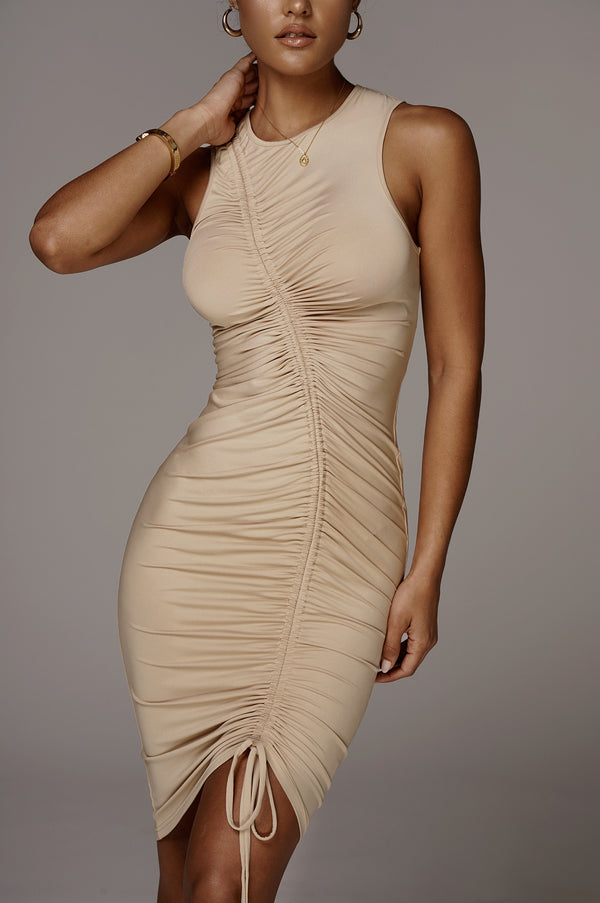 Taupe Alegra Front Ruched Dress