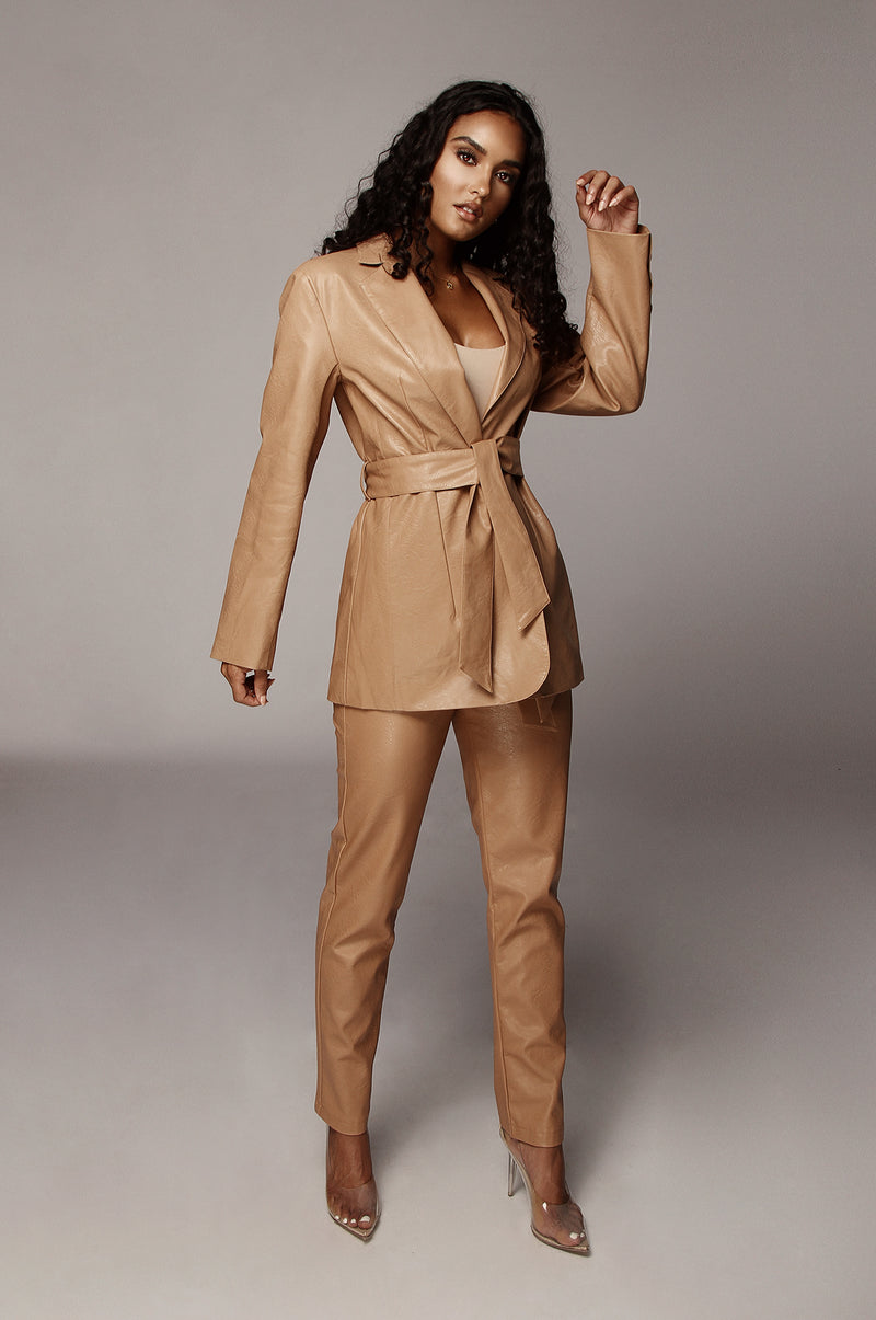 Caramel Boxy Faux Leather Blazer