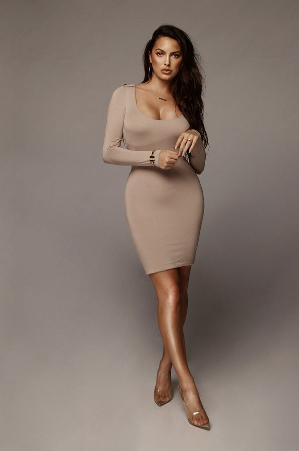 Taupe Cassie JLUXBASIX Mini Dress