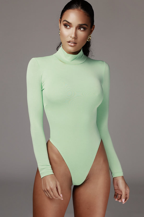 Mint Luna Mock Neck Bodysuit