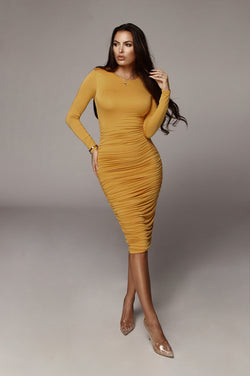 Mustard Blythe Ruched Body Dress