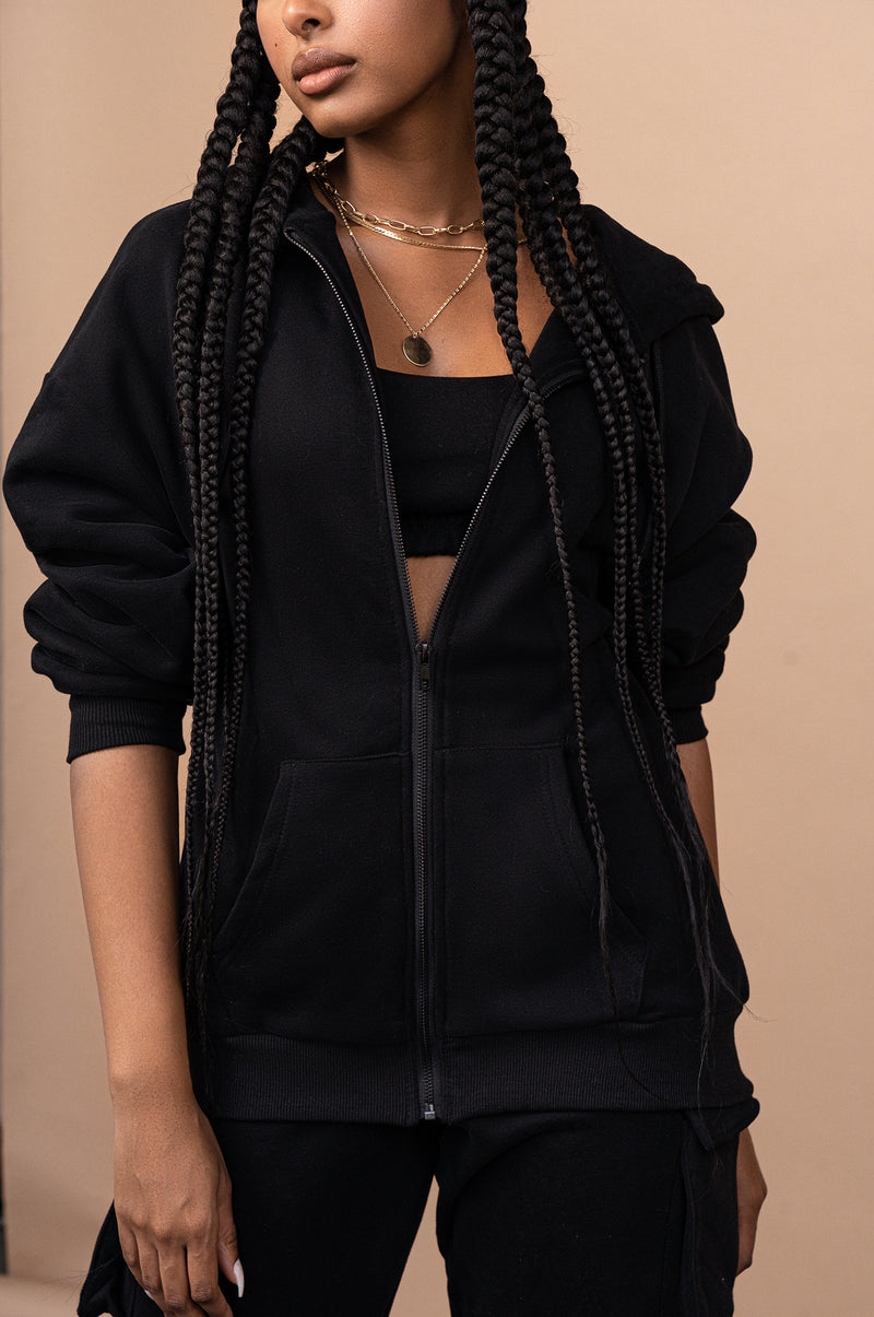BLACK UNISEX ABELLA ZIP UP