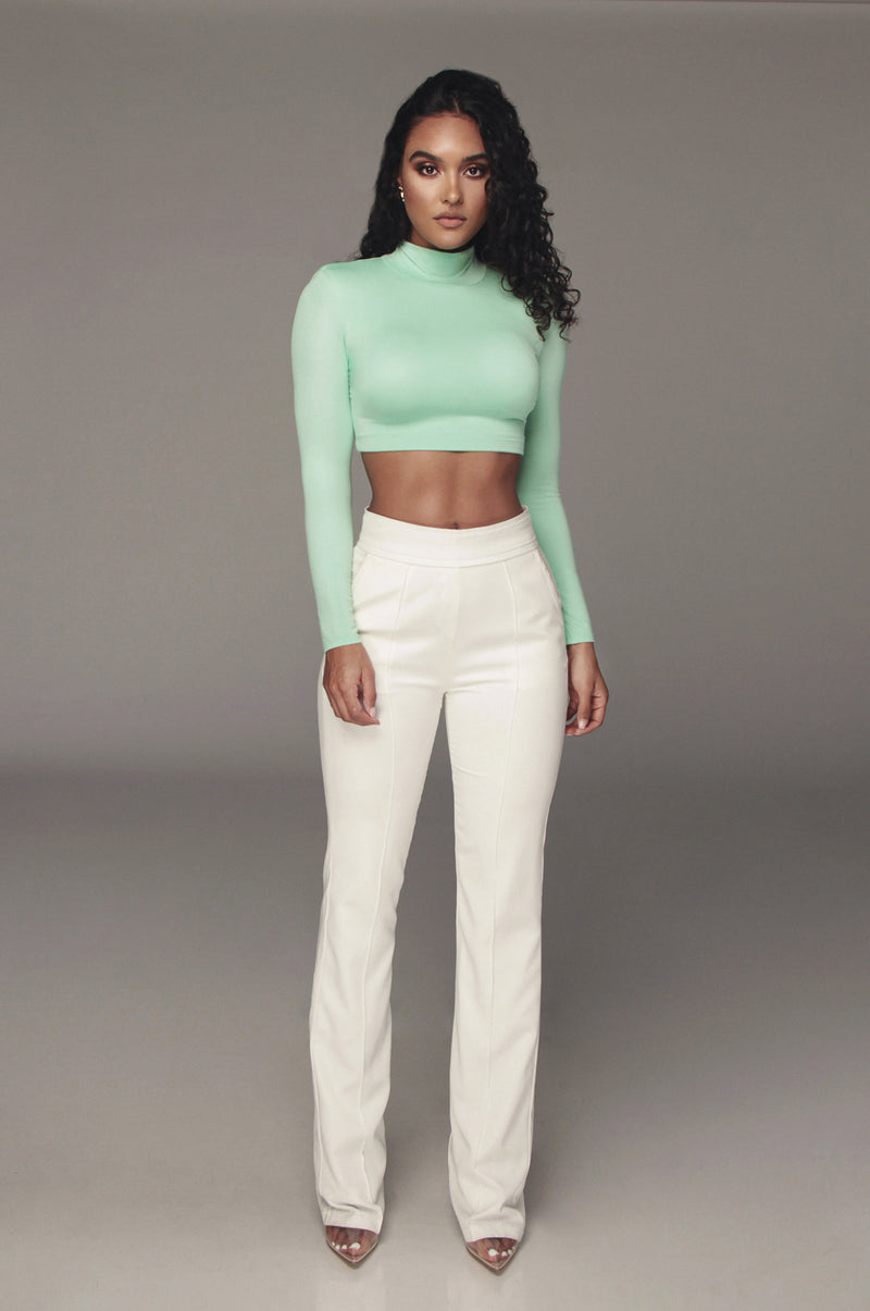 Mint Quela Padded Shoulder Top