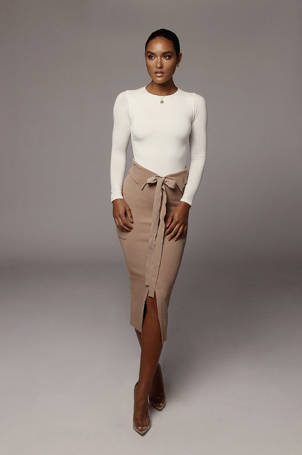 Taupe Carine Ribbed Skirt