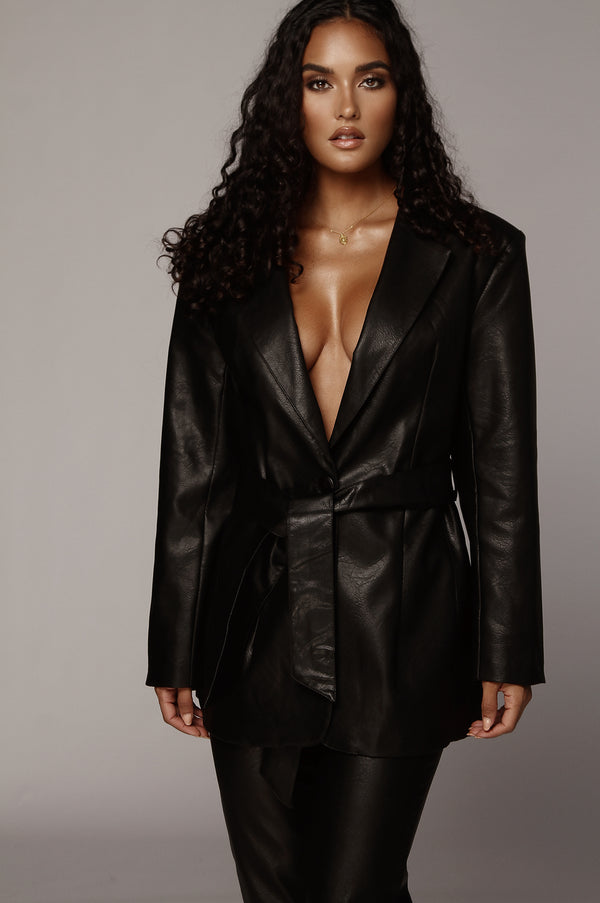 Black Boxy Faux Leather Blazer
