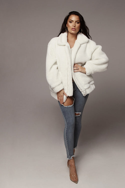 White Kenzie Bear Coat