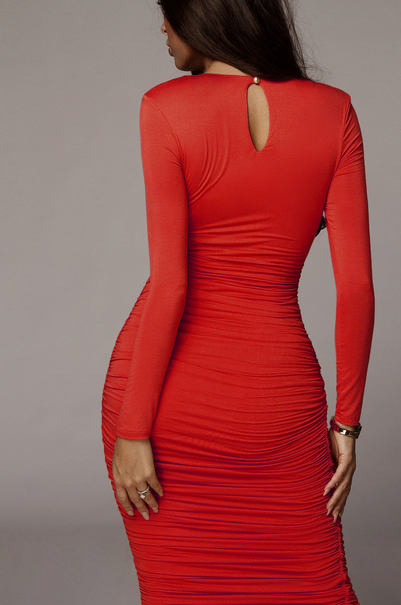 Red Blythe Ruched Body Dress