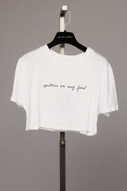 White Prettier On My Feed Crop Tee OUTLET