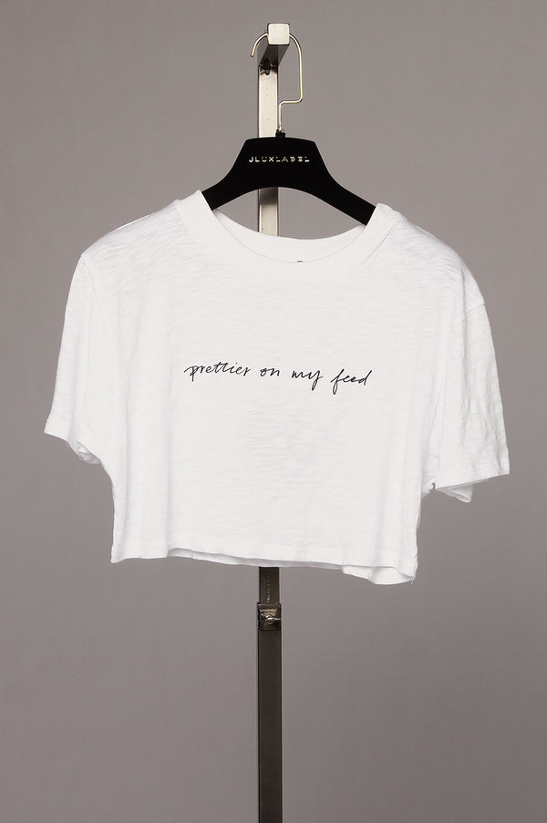 White Prettier On My Feed Crop Tee