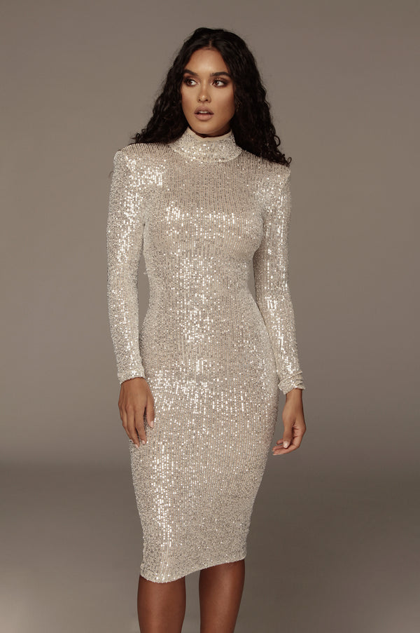 Silver Galore Sequin High Neck Dress