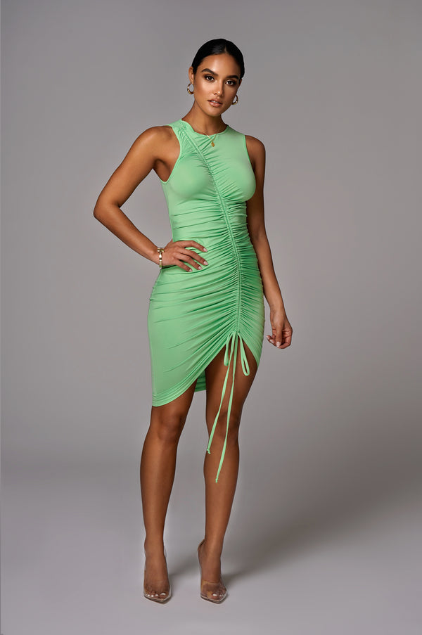 Green Alegra Front Ruched Dress