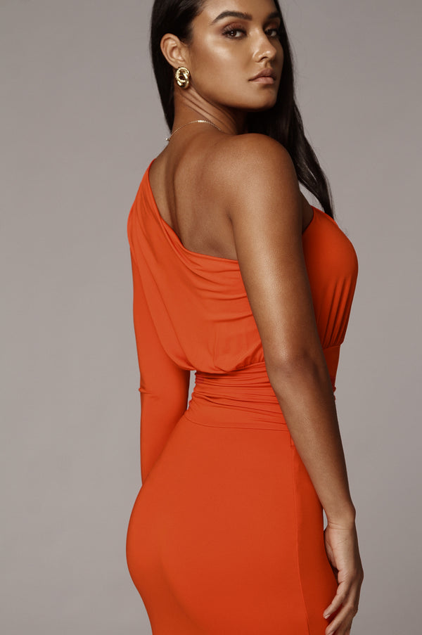 Orange Renee One Shoulder Dress