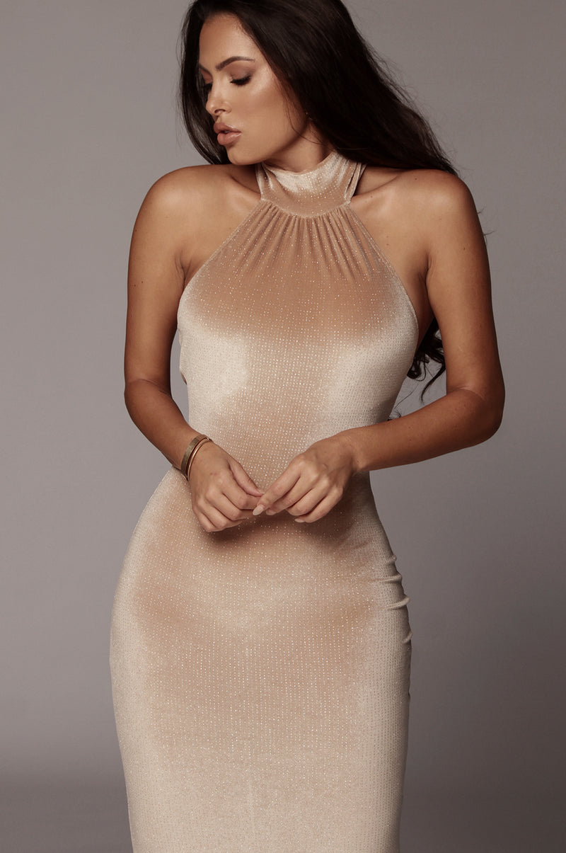 Tan Vera Sparkle Halter Neck Dress