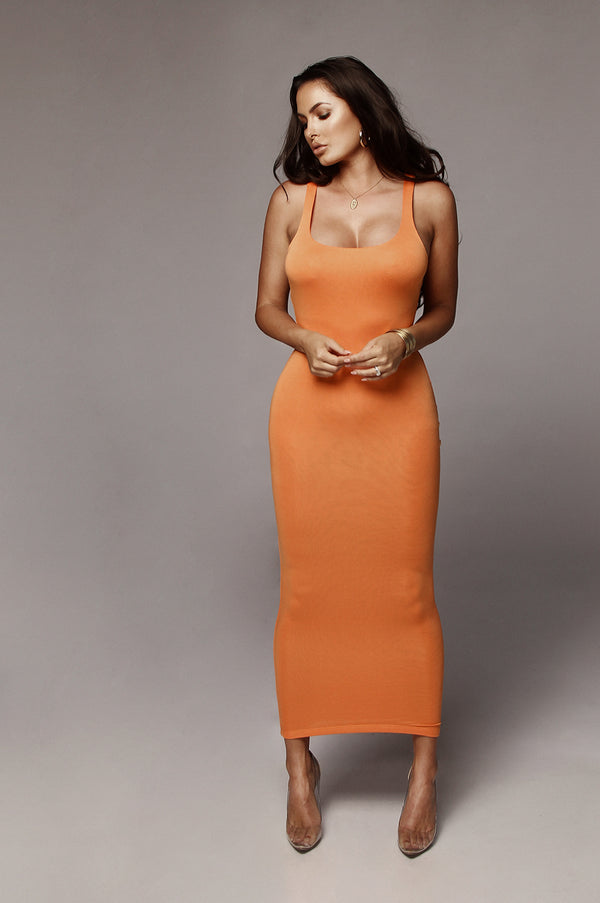 Orange Leeya Scoop Neck Maxi Dress