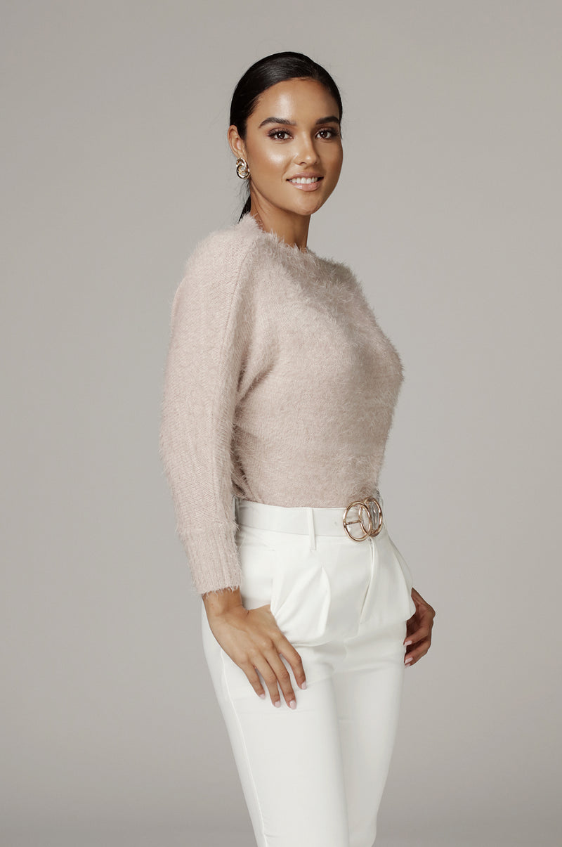 Taupe Jill Fuzzy Sweater