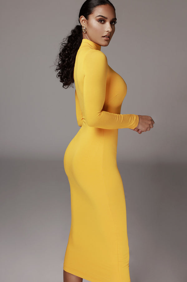Mustard Janessa Double lined Turtleneck Dress