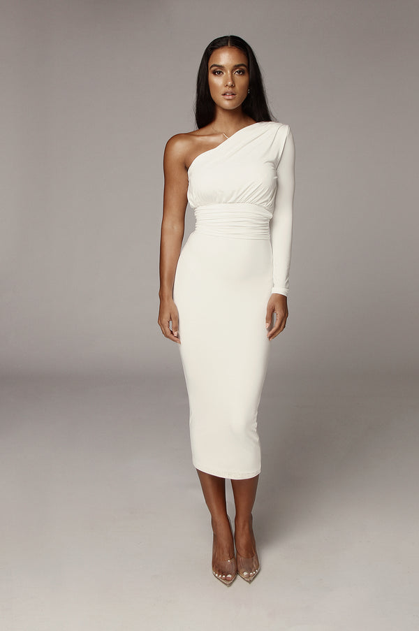 Ivory Renee One Shoulder Dress