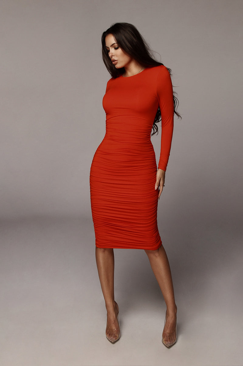Orange Blythe Ruched Body Dress