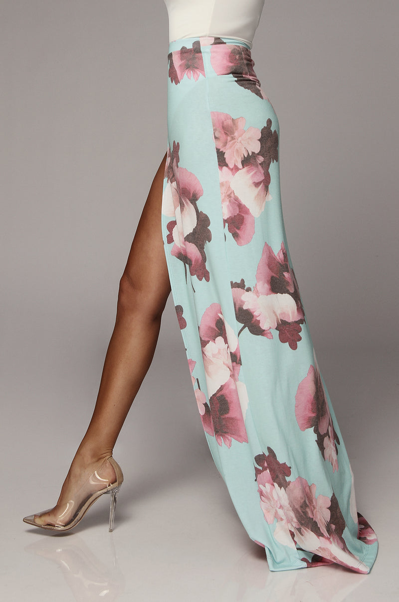 Shelby Blue Floral Maxi Skirt