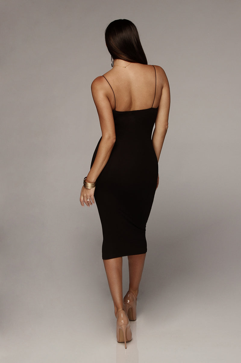 Black Queens Cord Strap Double Lined Dress