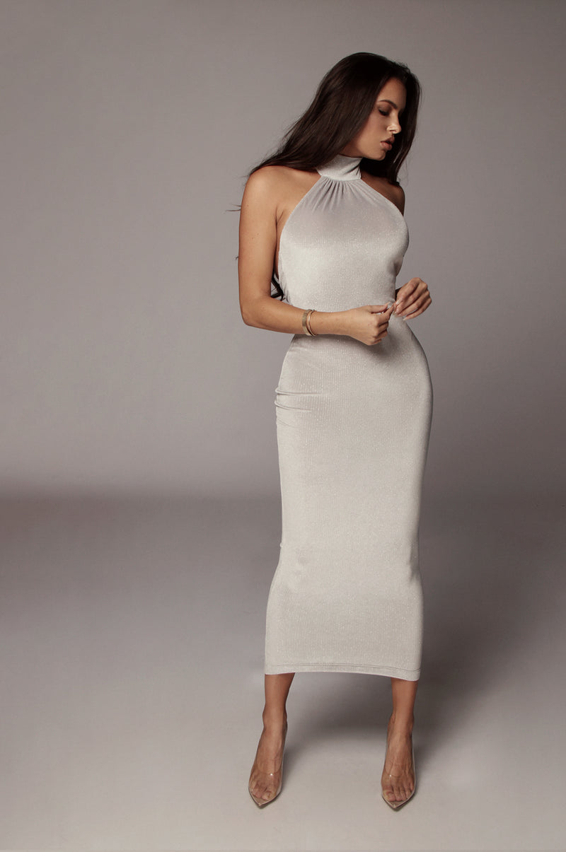 Grey Vera Sparkle Halter Neck Dress