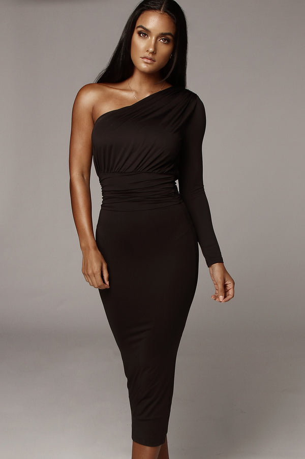 Black Renee One Shoulder Dress