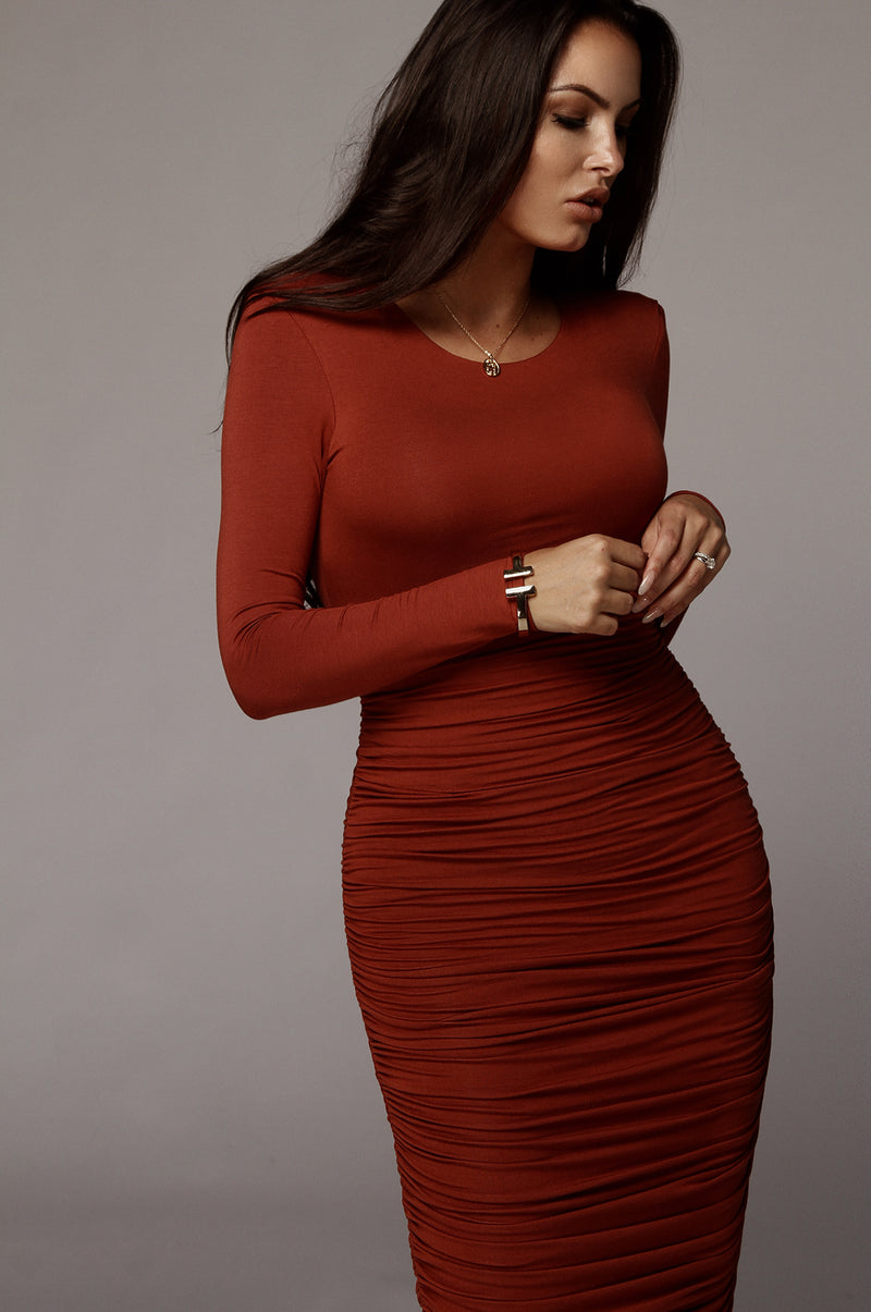 Rust Blythe Ruched Body Dress