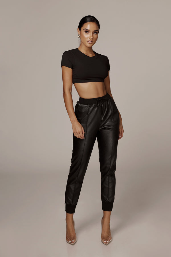 Black Ghost Faux Leather Joggers