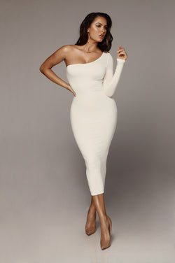 JLUXBASIX Ivory Em One Shoulder Basic Dress