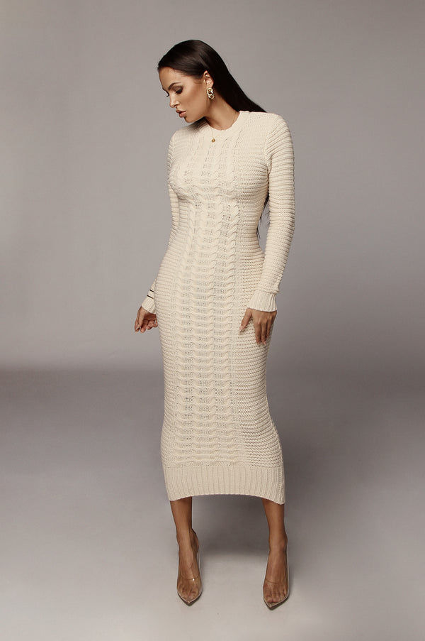 Cream Saberi Cable Knit Sweater Dress
