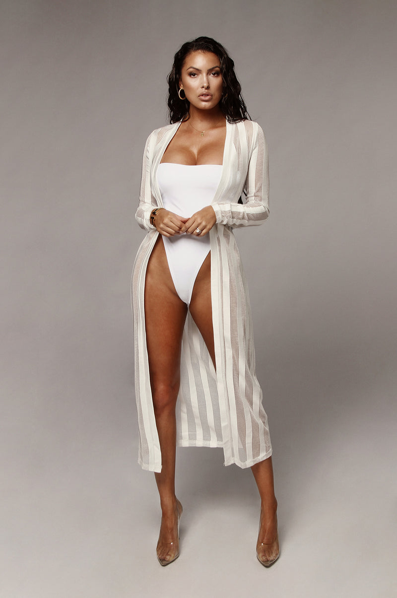 White Tabatha Semi Mesh Duster