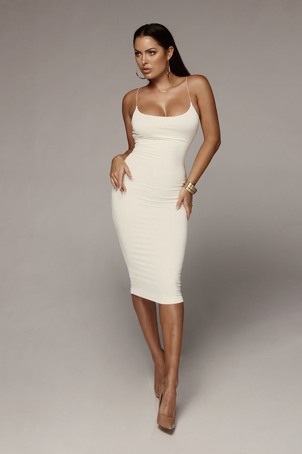Ivory Queens Cord Strap Double Lined Dress