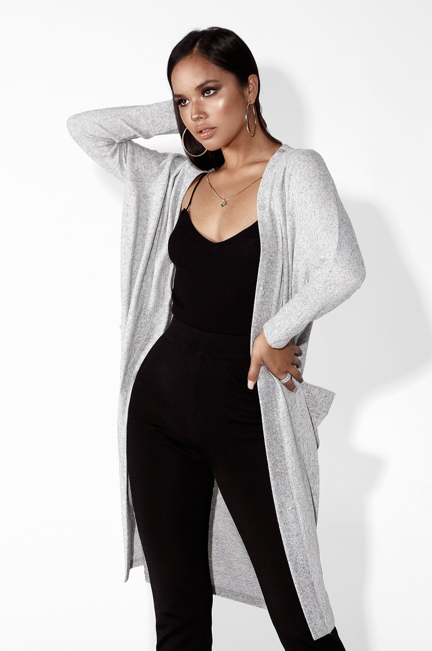 Heather Grey Throw on The Fur Duster Cardigan
