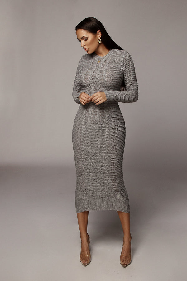 Grey Saberi Cable Knit Sweater Dress
