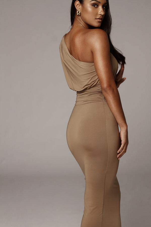 Mocha Renee One Shoulder Dress