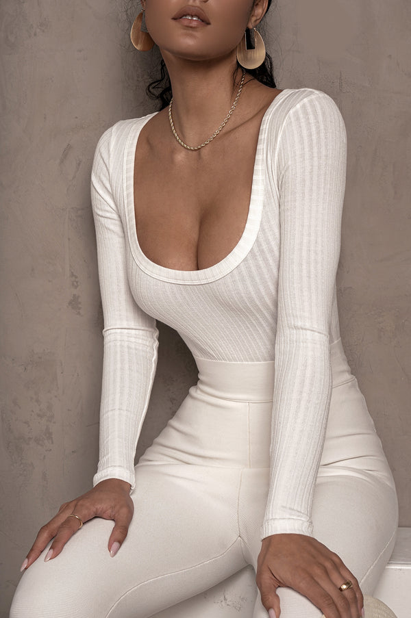 WHITE BRINX RIBBED BODYSUIT
