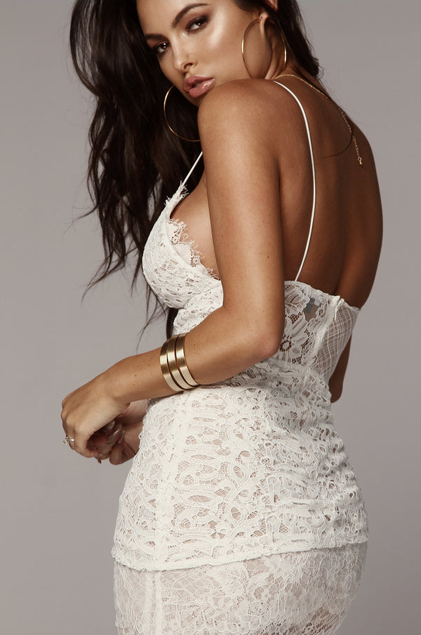 White Leighton Tiered Lace Dress