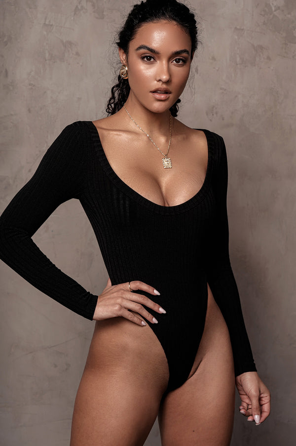 BLACK BRINX RIBBED BODYSUIT