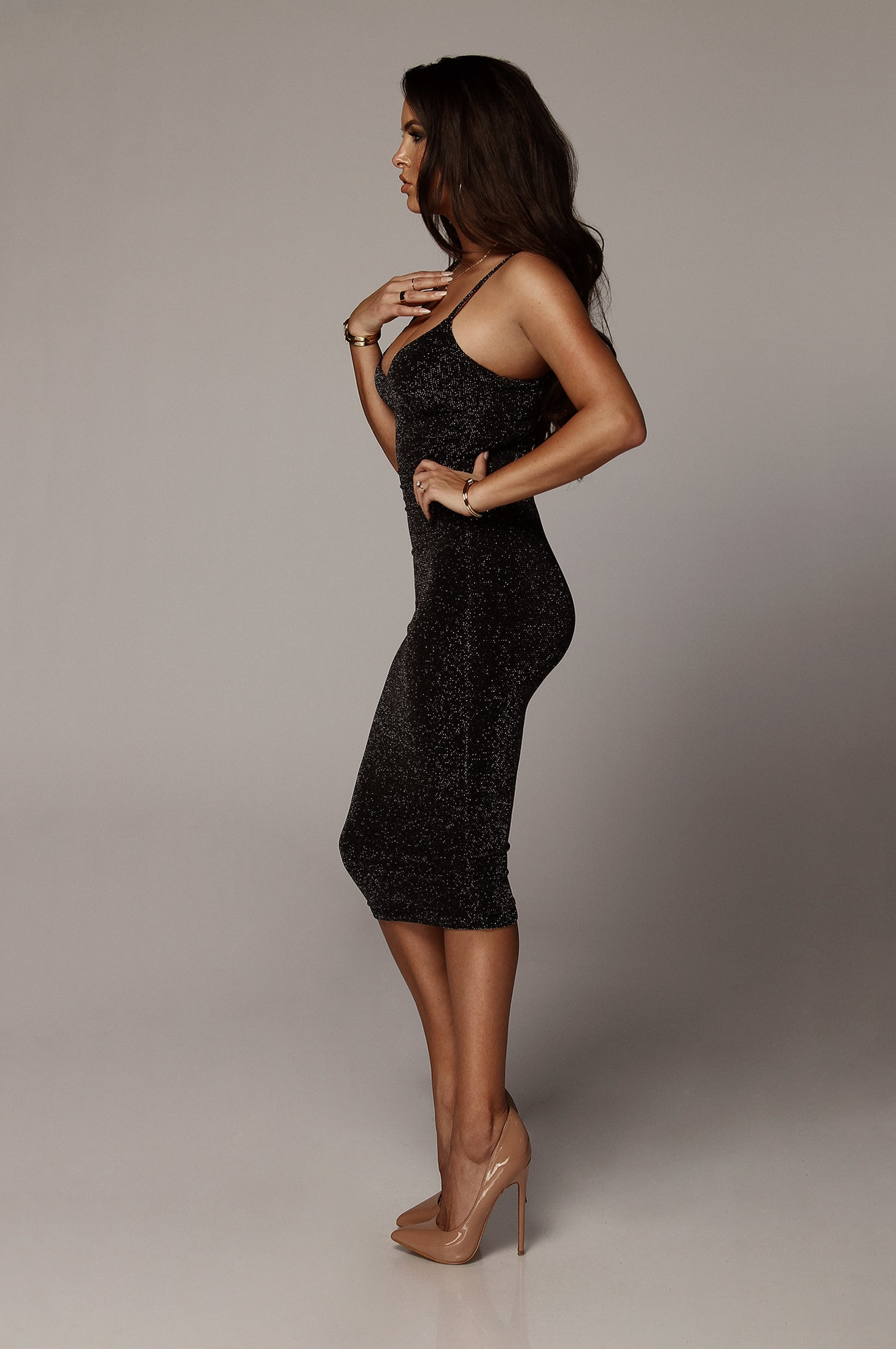 Black and Silver Showoff Soft Sparkle Dress