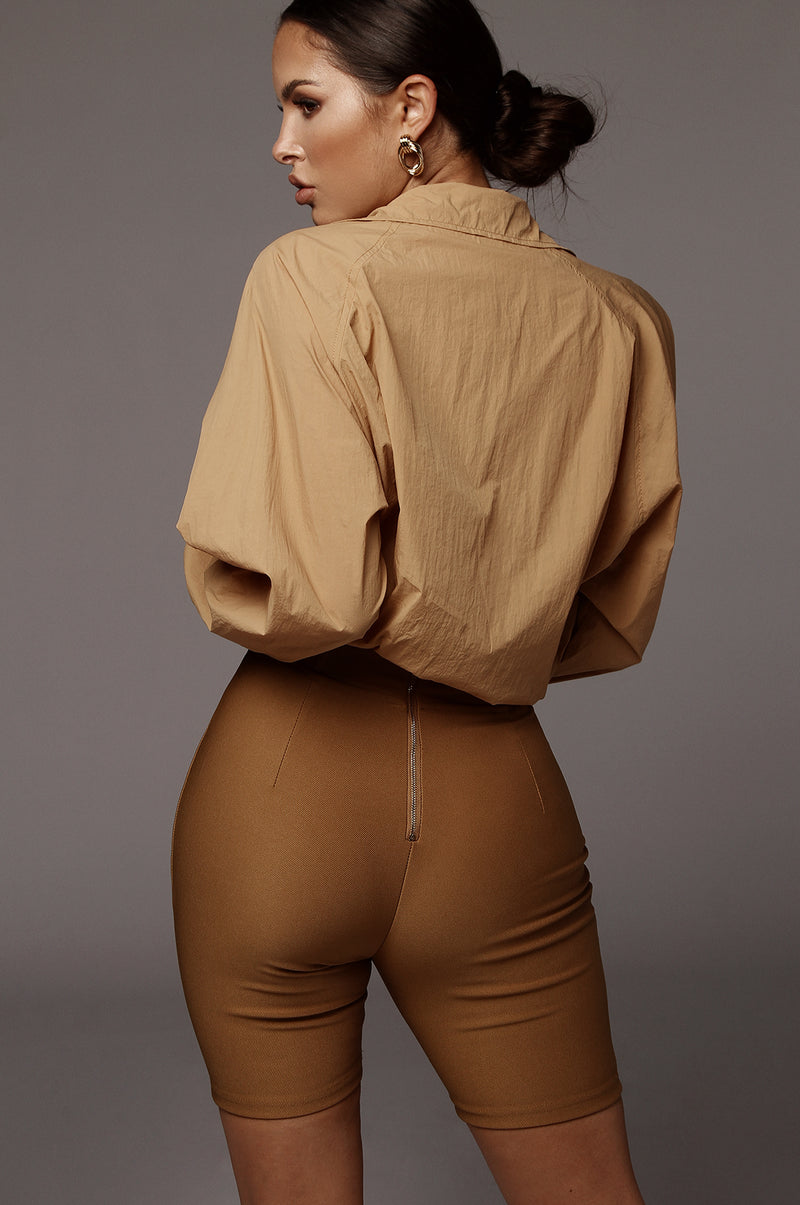 Tan Dionne Structured Biker Shorts