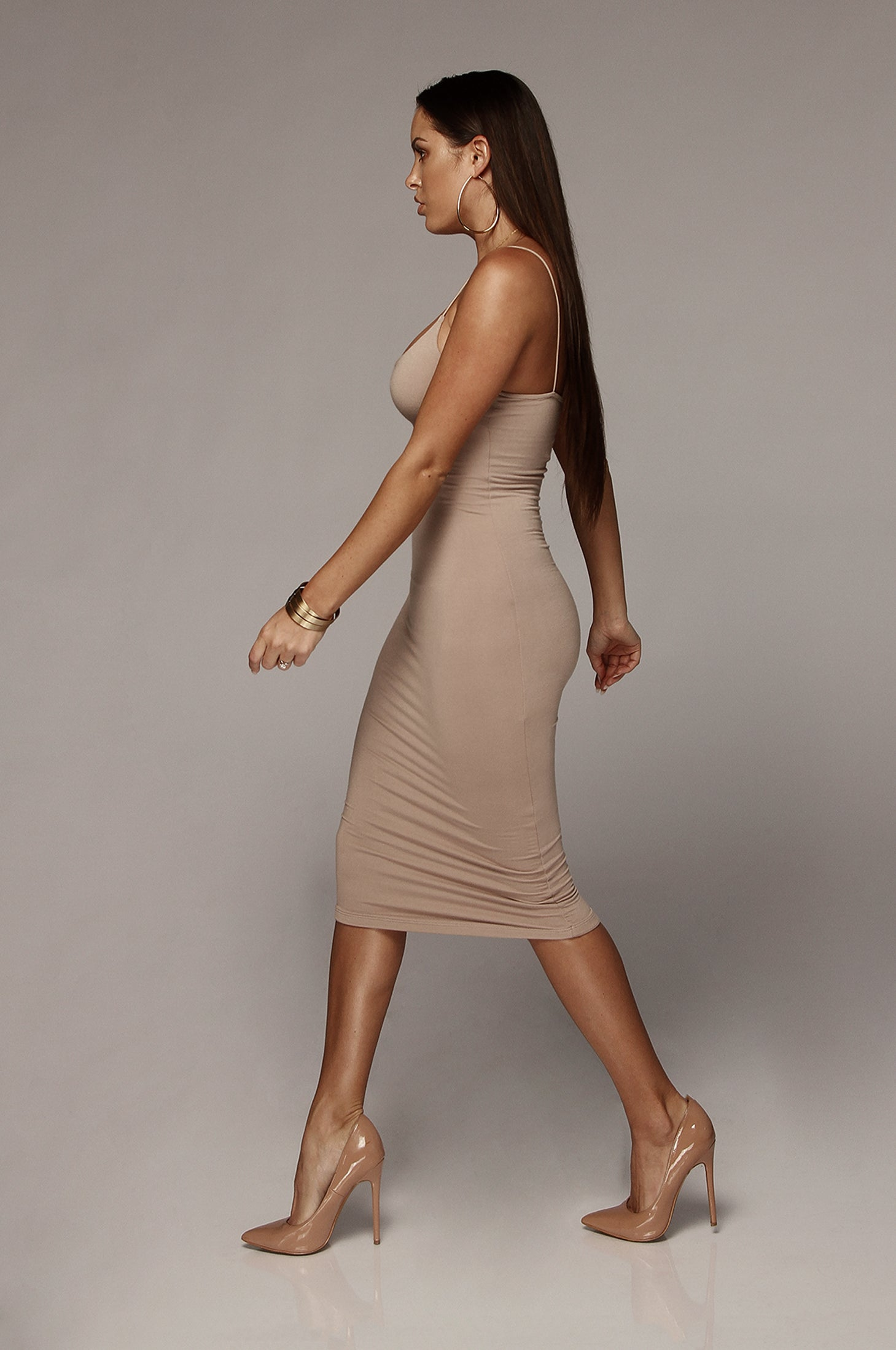 Warm Taupe Queens Cord Strap Double Lined Dress