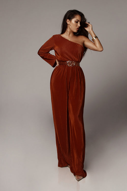Bronze Mae One Shoulder Pleated Jumpsuit