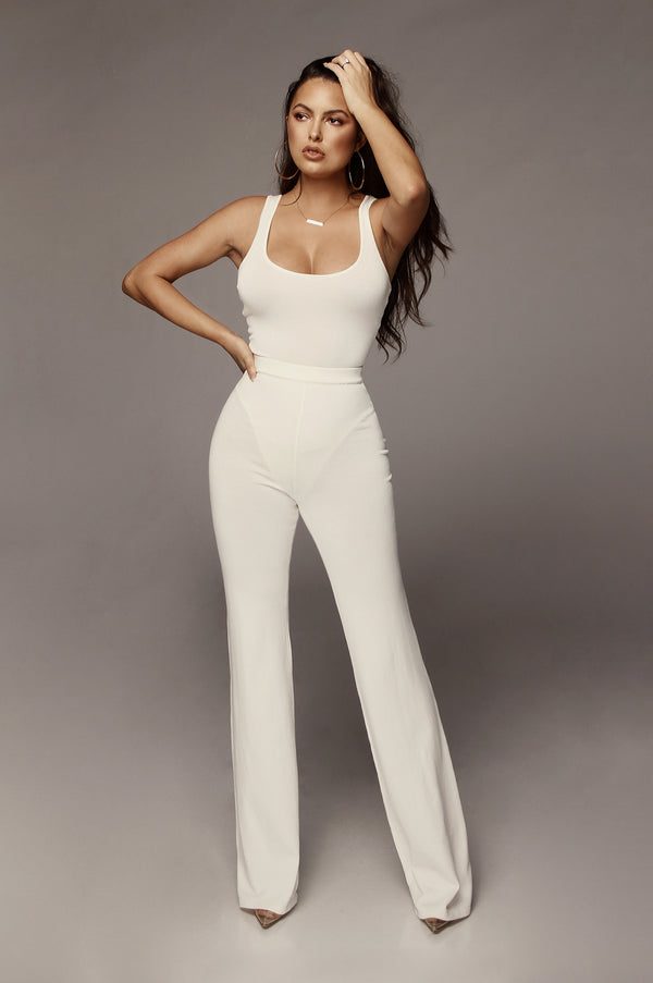 Ivory Emma Ribbed Wide Leg Pants
