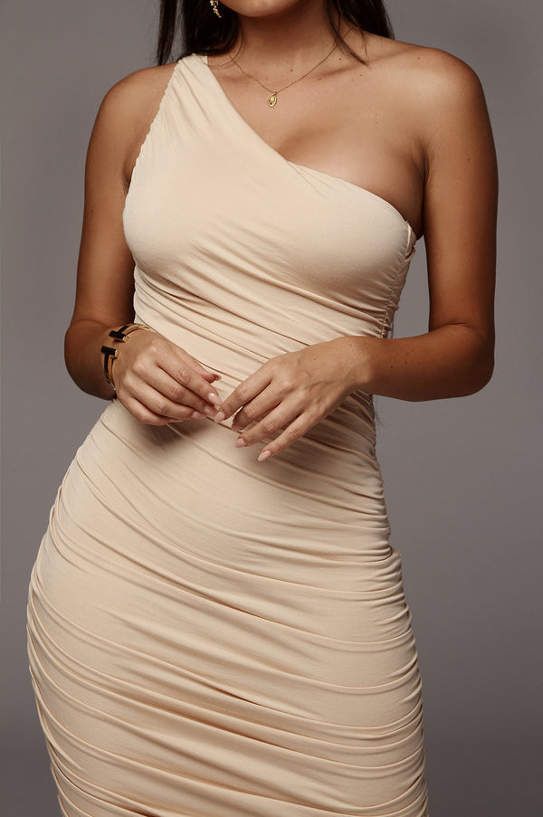 Sand Lola One Shoulder Ruched Dress