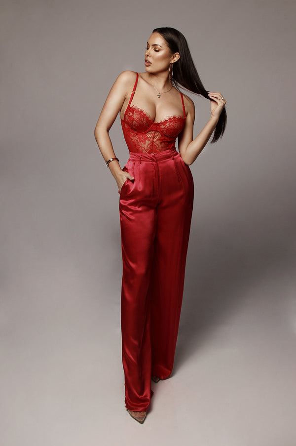 Red Anne Silk Pants
