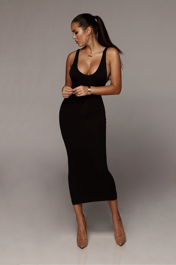 Black Perfection JLUXBASIX Low Side Dress