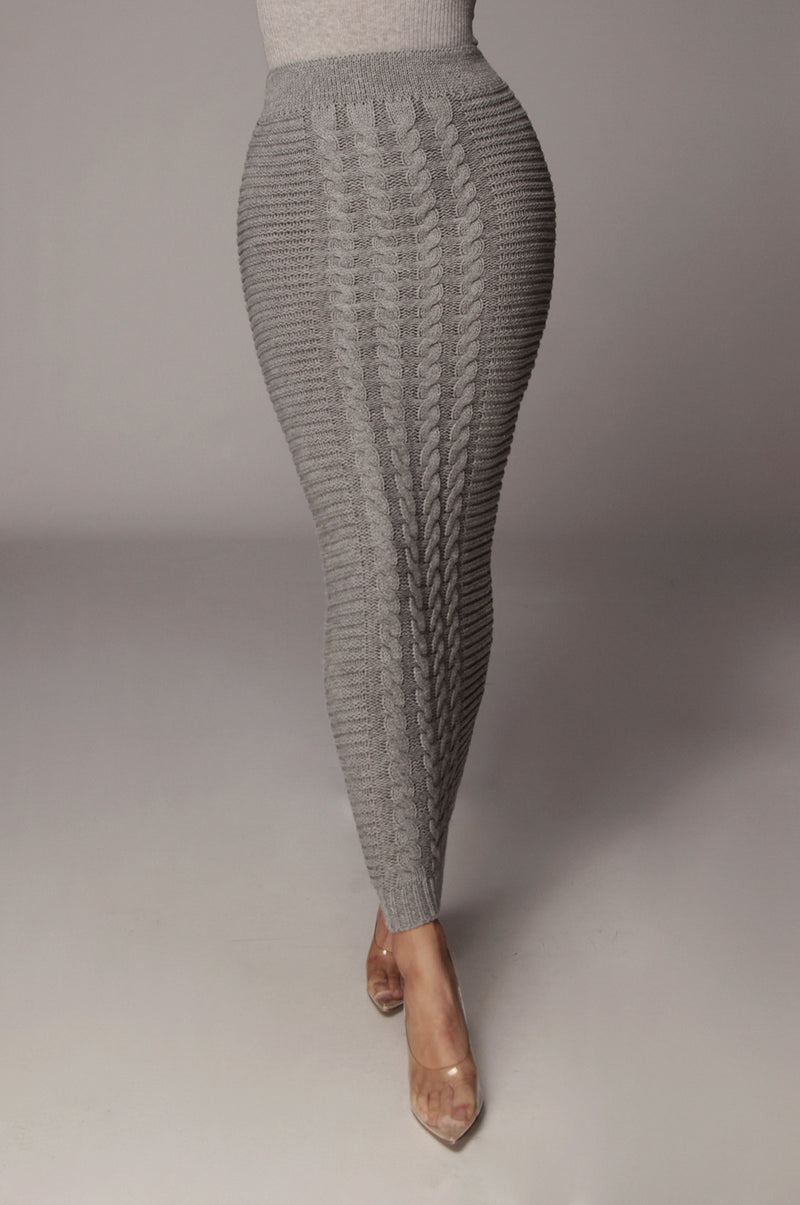 Grey Nolan Cable Knit Skirt